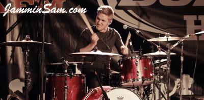 Photo of Josh Daubin's Pearl drum set with Red Vintage Sparkle drum wrap (1)