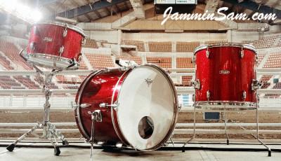 Photo of Josh Daubin's Pearl drum set with Red Vintage Sparkle drum wrap (3)