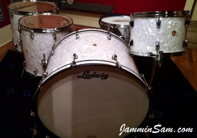 Photo of Fel Torres's Ludwig drumset with Vintage White Pearl drum wrap (40)