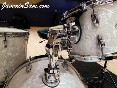 Photo of Michael Gillan's Slingerwig drums with Vintage White Pearl drum wrap (1)