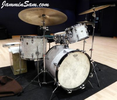 Photo of Michael Gillan's Slingerwig drums with Vintage White Pearl drum wrap (2)