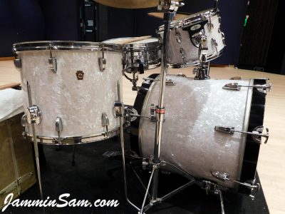 Photo of Michael Gillan's Slingerwig drums with Vintage White Pearl drum wrap (4)