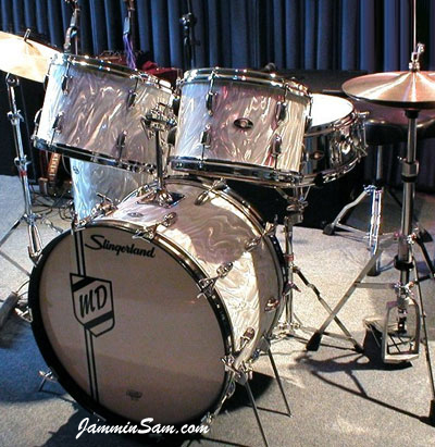 Photo of Michael Duell's restored 1975 Slingerland kit with White Satin drum wrap