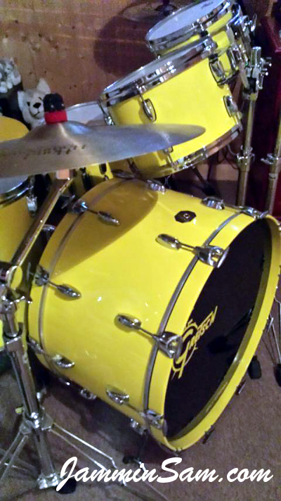 Photo of Carl Peterson's Gretsch drums with Hi Gloss Crazy Yellow drum wrap (2)