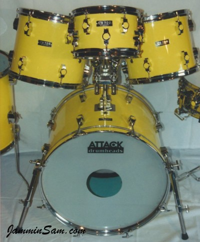 Photo of a set of CB700 drums with JS Vintage Yellow drum wrap (6)